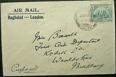 IRAQ 1930 AIRMAIL POSTAL COVER WITH 6a RATE FROM BAGHDAD TO ENGLAND - SEE!