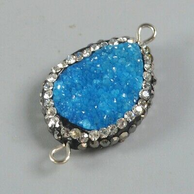 Drop Blue Agate Druzy Geode Pave Zircon Connector B078065