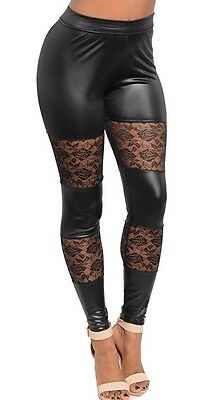 4152727421c Black Lace Inset Shiny Liquid Leather  Pleather  Wet Look Leggings Pants S  M L