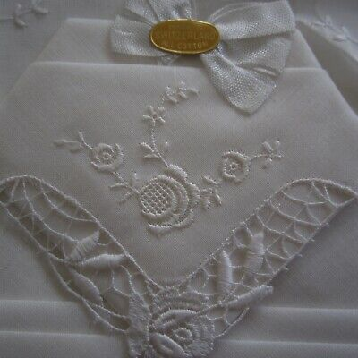 2 x Embroidered Scalloped White Swiss Cotton Hankies Boxed Vintage Retro