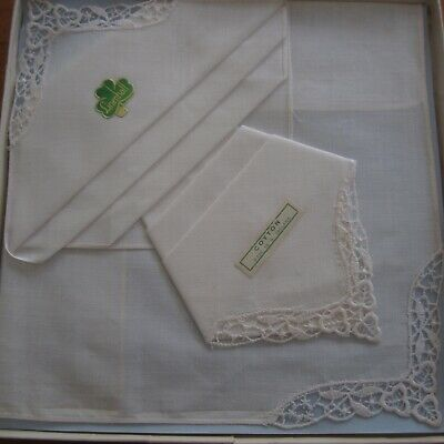 2 x White Irish Cotton Hankies Embroidered Lace Corners Boxed Vintage Retro New