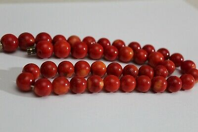 Vintage 100% Authentic Red Blood Sardinia Coral Huge Round Beads Necklace .