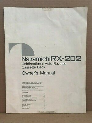 Genuine Original Nakamichi RX-202 Cassette Deck Owner's Manual 8 Pages Japan