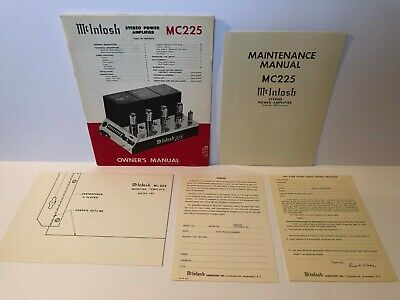 Genuine McIntosh MC 225 Tube Stereo Power Amplifier Owner's Manual & schematic +