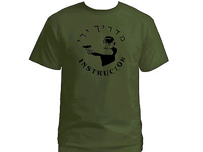 Shooting Instructor English/Hebrew army green 100% cotton graphic top t-shirt