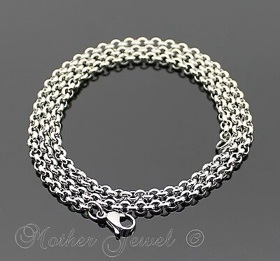 50Cm Silver 316L Stainless Steel 4Mm Thick Rolo Chain Mens Womens Necklace 22""