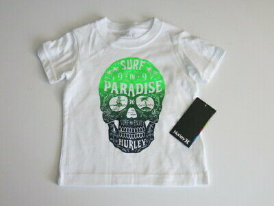 Hurley Toddler Boy's Short Sleeve T-Shirt Tee White Skull Surf in Paradise NEW