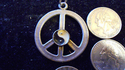 pewter MYTH ICON LOGO yin yang peace sign FASHION pendant charm LEATHER necklace