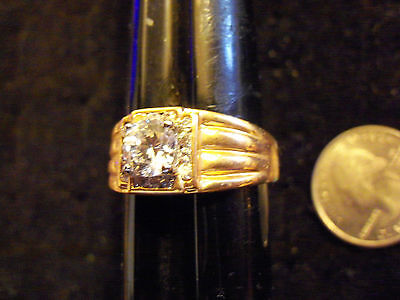 bling gold plated finger cubic solitaire men`s fashion ring hip hop size 13 big