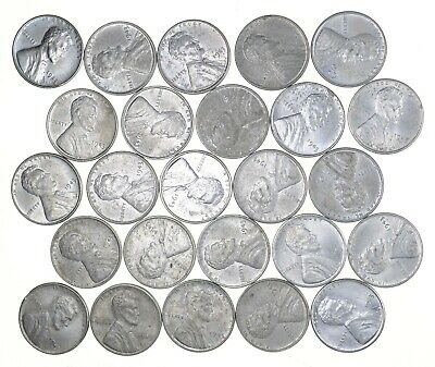 1/2 Roll 1943 Lincoln Wheat STEEL Cent - Beautiful Mostly BU Unc 25 Coins *681