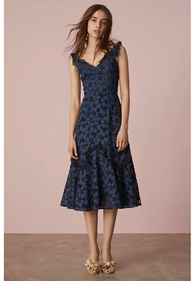 c4277822382 REBECCA TAYLOR ADRIANA EYELET EMBROIDERED MIDI BLUEBERRY BLACK DRESS sz 6
