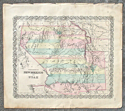 1855 Colton Map of New Mexico and Utah