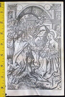 Large printed medieval BoH,Miniature,Magi give Gifts/Nativity,S. Vostre,c.1512