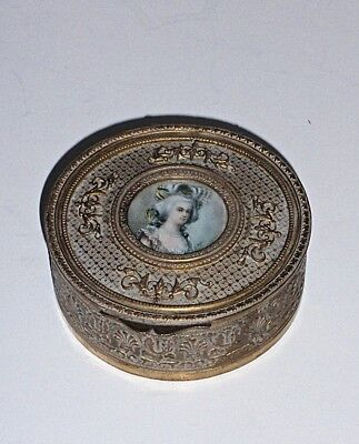 Antique French Gilt Hand Painted Miniature Portrait Trinket Box, Artist Signed