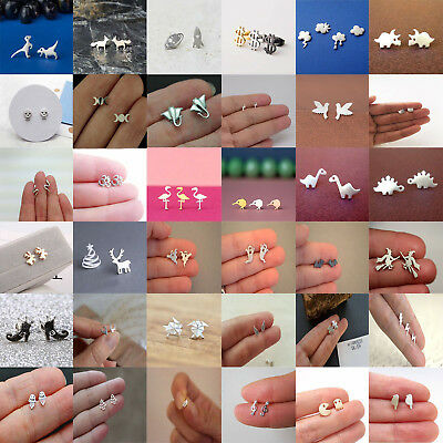Cute Animal Silver Plated Earrings Stud Studs Mini Jewelry Women Ear Fashion