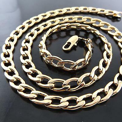 Necklace Chain Real 18K Yellow Gold G/F Solid Men's Cuban Link Design Fs3A166