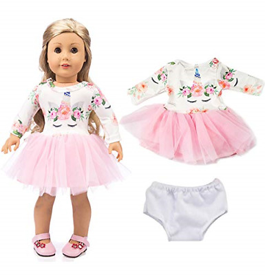 18 inch Pink Long Sleeve Unicorn Outfit for American Girl Doll Dress Clothes