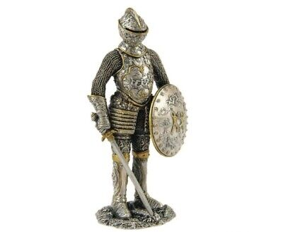 Medieval Knight in Armor Shield Sword Standing Life Size Statue