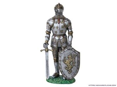 Knight Medieval With Sword and Large Shield Life Size Prop Resin Statue