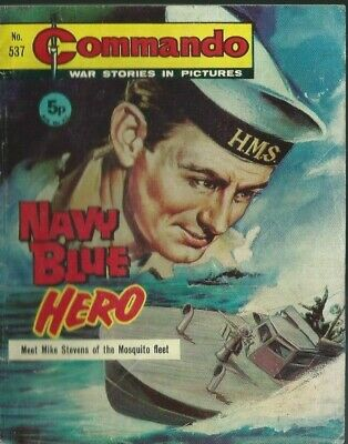 Navy Blue Hero,commando War Stories In Pictures,no.537,war Comic,1971