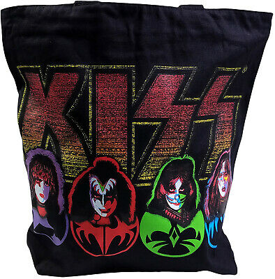 KISS Solo Albums Faces Icons Band Logo TOTE COTTON BAG + ZIP BEUTEL TASCHE