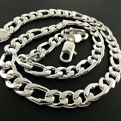 Necklace Chain Real 925 Sterling Silver S/F Solid Men's Heavy Bling Link Fs3A825