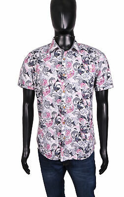 d85c47e59 MENS TED BAKER London Button Down Shirt Sz 6 XXL White w  Floral ...