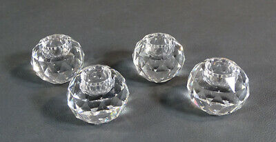 4 x Art Deco Austrian Faceted Brilliant Cut Crystal Glass Ball Candle Holder Set