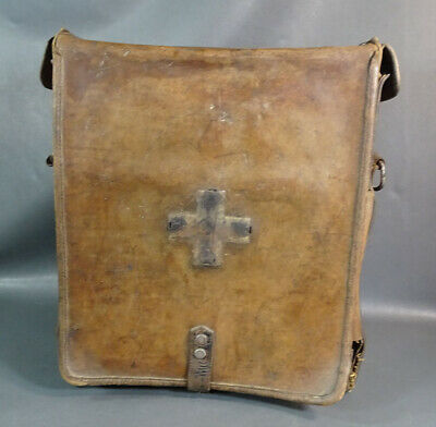 WWI German Army Field Doctor Medical Surgical Instruments Tools Leather Bag Case