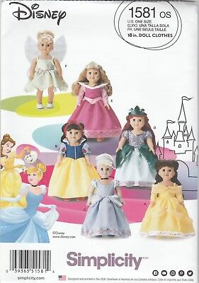"""Simplicity Sewing Pattern 1581 Clothes 18"""" Dolls Disney Princess Costumes"""