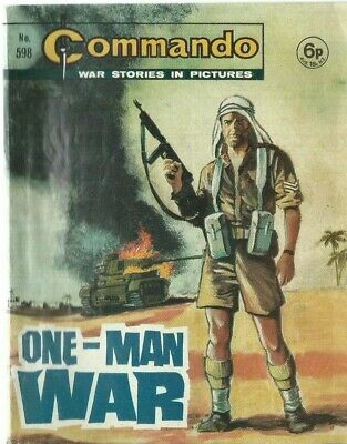 One-Man War,commando War Stories In Pictures,no.598,war Comic,1971