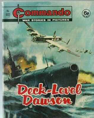 Deck-Level Dawson,commando War Stories In Pictures,no.602,war Comic,1971