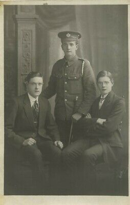 World War 1 Soldier With Two Brothers? Postcard  Royal Engineers