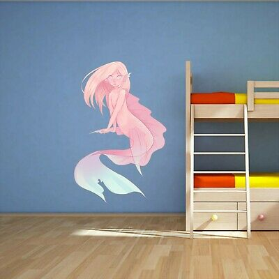 Pink mermaid, majestic, fantasy Window View Decal WALL STICKER Home Decor art