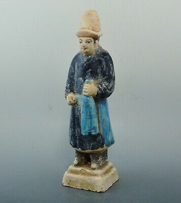 Chinese Ming Dynasty Terracotta Glazed Tomb Attendent Figure (388J)