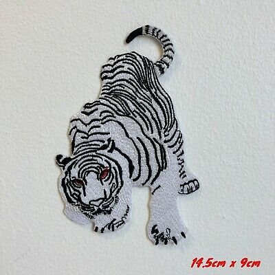 White Snow Tiger Embroidered Iron Sew on Patch #1847