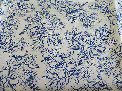 """Unused German   Cotton  Fabric  Blue Flowers  31 """" by 1.64 Yards Germany 1950"""