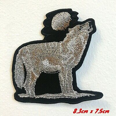 Wolf with Full Moon Cute Animal Embroidered Iron on Sew on Patch #1762