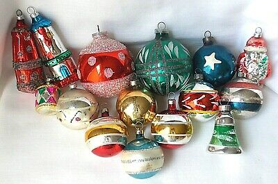Lot Vtg Glass Christmas Ornaments Germany Czech Us Of A Hp Mica Glitter