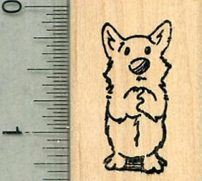 Dog Praying Rubber Stamp, Small Size D34110 WM