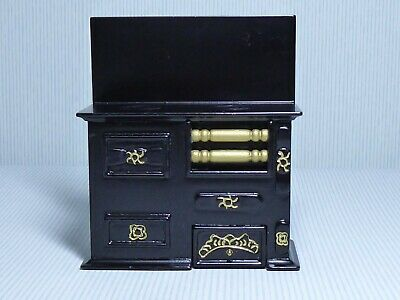 Dolls House Miniature 1.12 Scale Victorian Black & Gold Range / Cooker ( A)