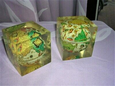 Pair Of Vintage Lucite Paperweights With Globes In