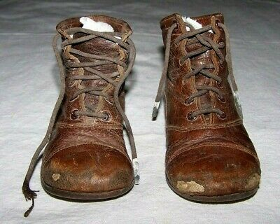 Antique Brown Leather Boy's High Top Shoes-Lace Up-Young Child-Large Doll