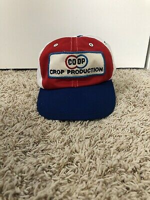 342f45df575dc Trucker Baseball Cap Snap Back CO OP Crop Production Red White Blue Hat USA  COOP