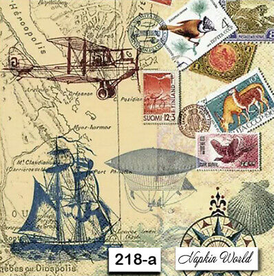 (218-a) TWO Individual Paper Luncheon Decoupage Napkin - WORLD TRAVEL STAMPS MAP