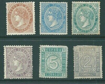 SPAIN early unused stamp group: Mint no Gum (c)