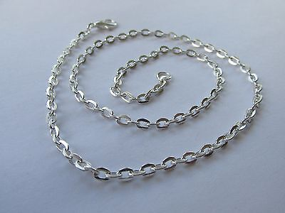 """Jewellery Craft Design - Silver Plated Trace Flat Link Chains Findings 16"""" PACKS"""