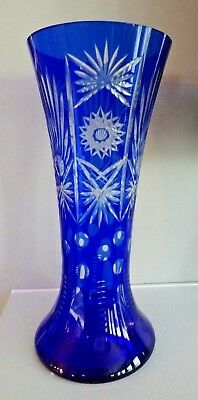 "12"" Vintage BOHEMIAN Art Glass Cobalt Blue Cut to Clear VASE Cased Overlay"