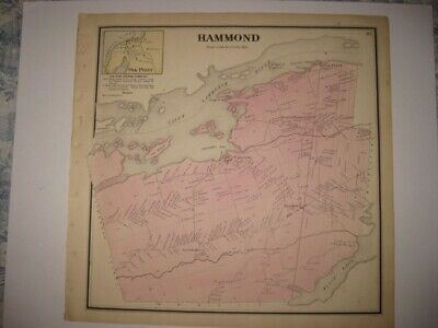 Antique 1865 Hammond Oak Point Chippewa St Lawrence County New York Handcolr Map