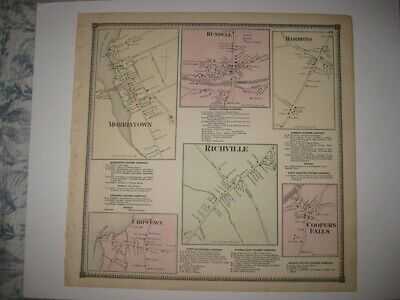 Antique Morristown Russell Richville Chippewa St Lawrence County New York Map Nr
